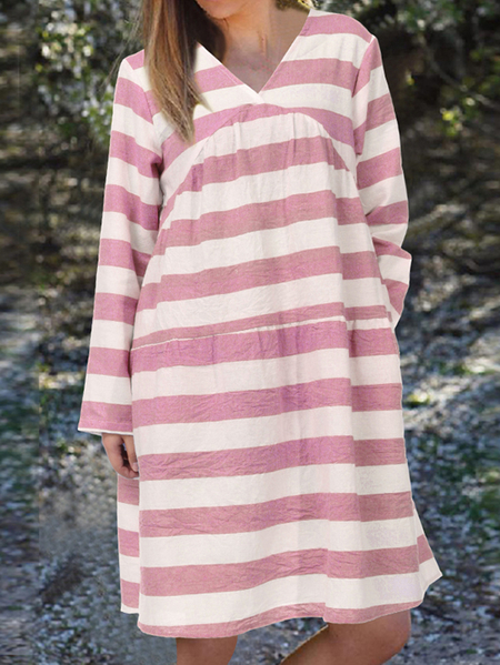 Yoins Celmia Striped V-neck Long Sleeves Dress