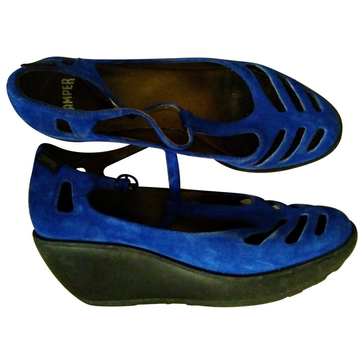 Camper \N Sandalen in  Blau Veloursleder