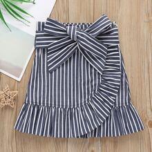 Toddler Girls Striped Self Tie Ruffle Wrap Skirt