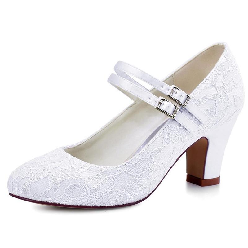 Ericdress Lace Round Toe Plain Chunky Heel Wedding Shoes