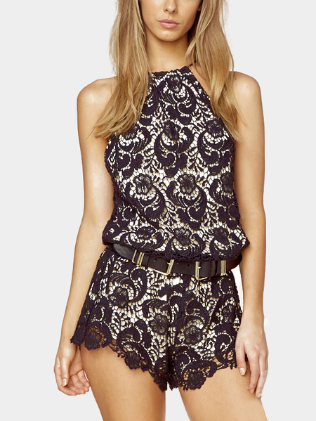 Yoins Black Sexy Playsuit with Halter Neck
