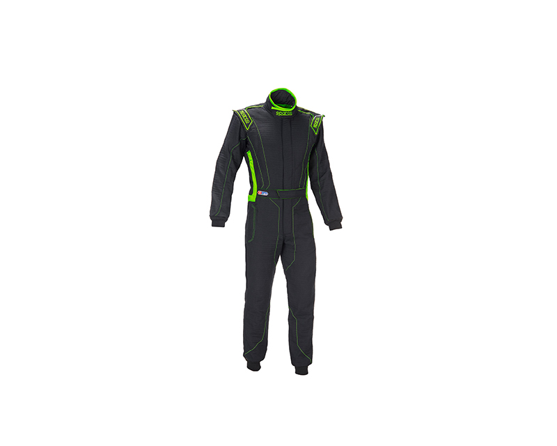 Sparco 001129H58NRVF Victory RS-4 Standard Cuff Black and Green Racing Suit 58 | L
