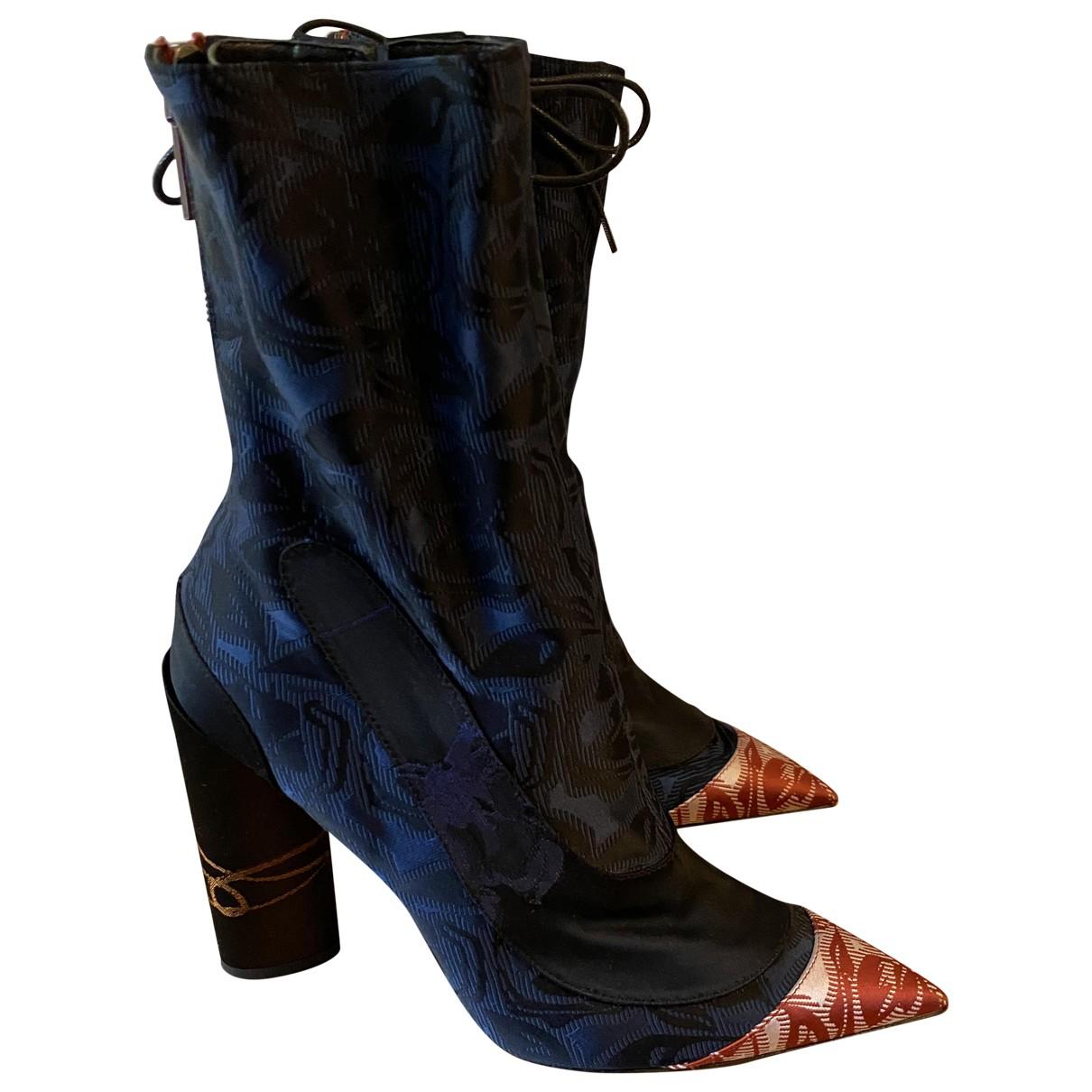 Dior \N Stiefel in  Blau Leinen