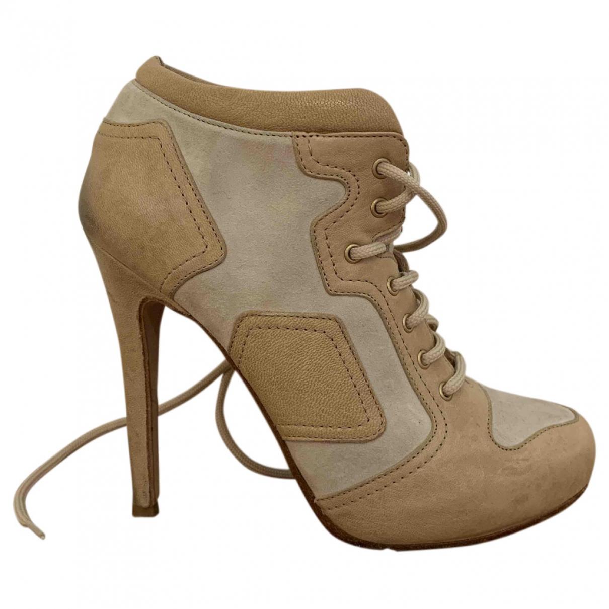Alexander Mcqueen \N Beige Leather Ankle boots for Women 37 IT