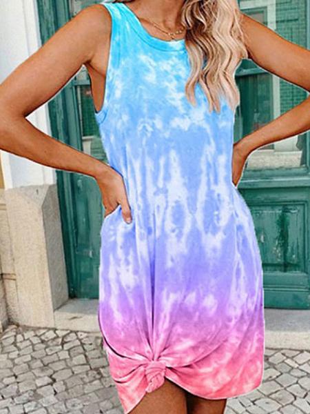 Milanoo Vestido de verano Joya Cuello Tie Dye Purpura Sin mangas Hasta la rodilla Vestido informal suelto de playa