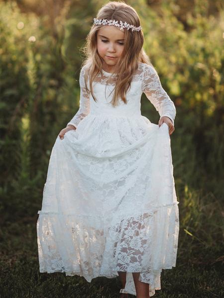 Milanoo Flower Girl Dresses Jewel Neck Long Sleeves Lace kids social party dresses