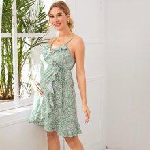 Maternity Ditsy Floral Print Tie Side Ruffle Trim Wrap Cami Dress
