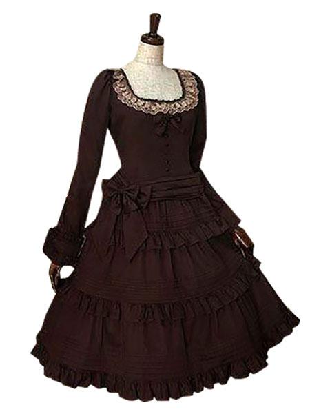 Milanoo Gothic Lolita Dress OP Square Neckline Ruffles Long Sleeve Court Dress In Dark Brown