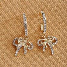Rhinestone Decor Bow Drop Earrings