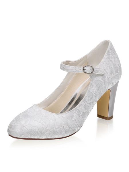 Milanoo Vintage Wedding Shoes Ivory Lace Round Toe Chunky Heel Bridal Shoes Mary Jane Shoes