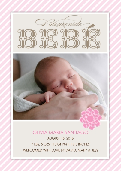 Newborn Flat Glossy Photo Paper Cards with Envelopes, 5x7, Card & Stationery -Spanish Bienvenido Bebe
