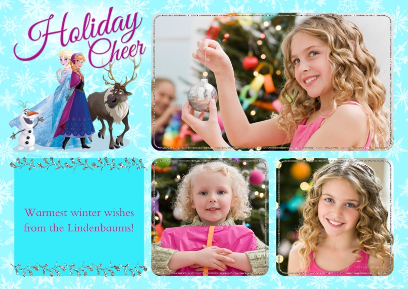 Holiday Photo Cards Flat Matte Photo Paper Cards with Envelopes, 5x7, Card & Stationery -Anna & Elsa Holiday - Frozen