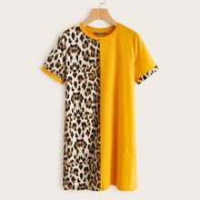 Contrast Leopard Panel Tee Dress