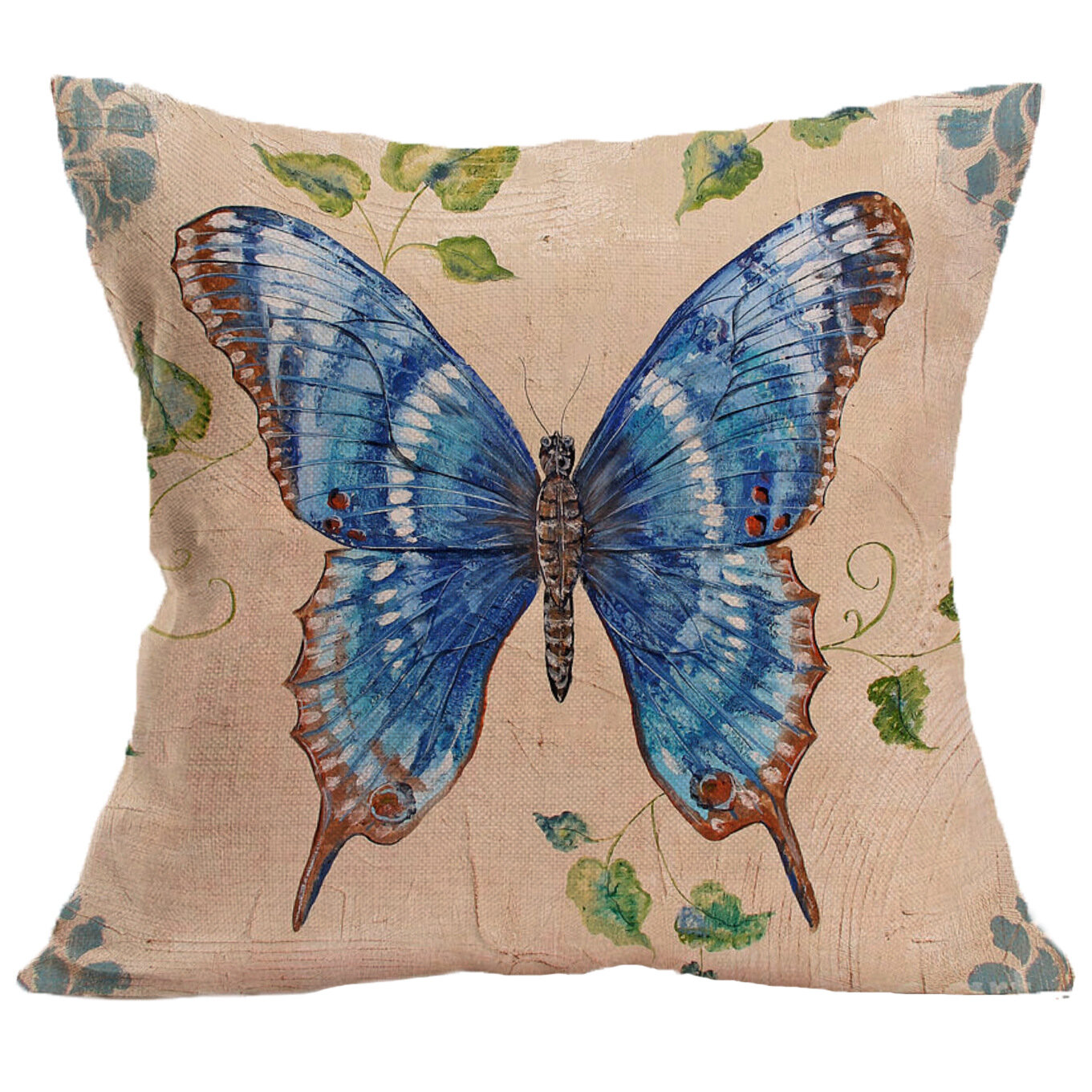 Cartoon Butterfly Cotton Linen Cushion Cover Square House Decor Pillowcase