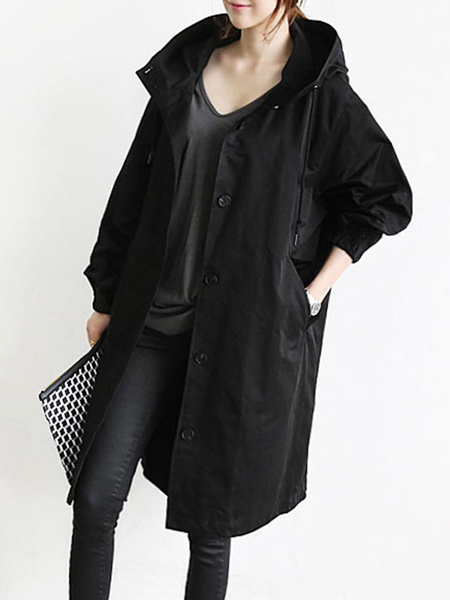 Milanoo Abrigo para mujer Con cordon Bolsillos con capucha Botones Abrigo negro informal Abrigo de invierno