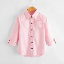 Blusas para niña pequeña Bolsillo Liso Casual