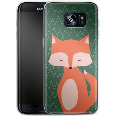 Samsung Galaxy S7 Edge Silikon Handyhuelle - Fox on Green von caseable Designs