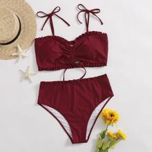 Plus Frill Trim Ruched Tie Shoulder Bikini Swimsuit