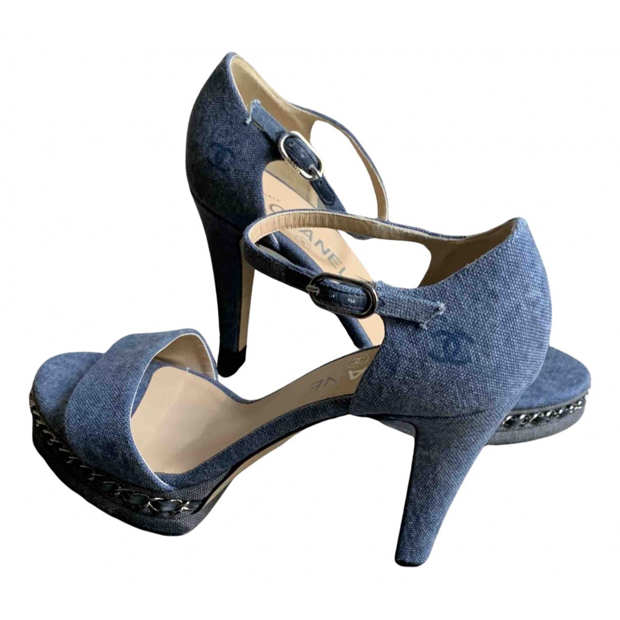 Chanel \N Sandalen in  Blau Leinen