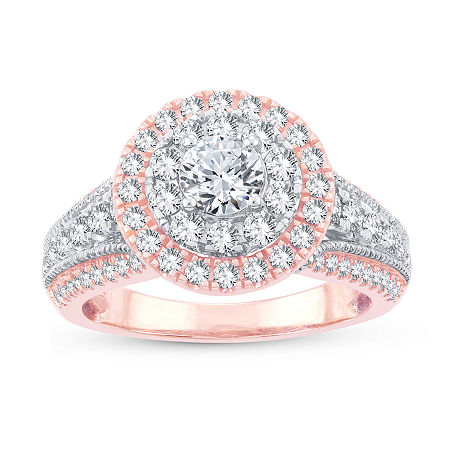 Womens 1 1/2 CT. T.W. Genuine White Diamond 10K Gold 10K Rose Gold Engagement Ring, 6 , No Color Family
