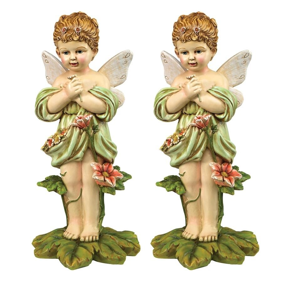 Design Toscano Gertie, the English Flower Fairy Statue: Set of Two (Multi - Resin)