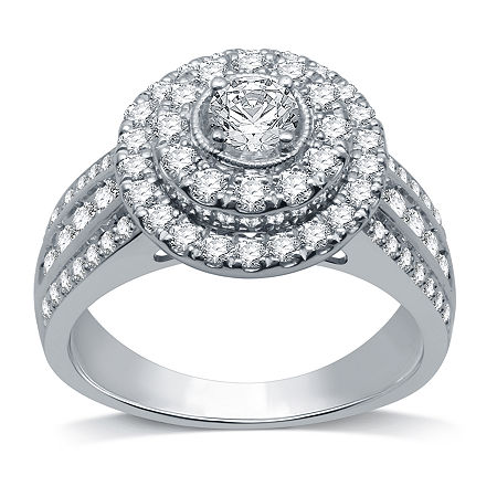 LIMITED EDITION! Womens 1 1/4 CT. T.W. Genuine White Diamond 10K White Gold Round Halo Engagement Ring, 8 , No Color Family