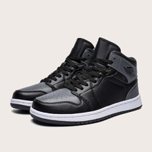 Men Lace-up Front Two Tone High Top Sneakers