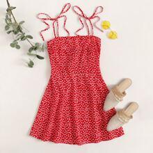 Vestido slip floral de margarita de espalda con fruncido con tiras con nudo
