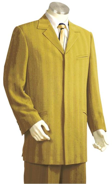 Mens Single Breasted Besom Pocket Stitch Stripe Zoot Suit Gold