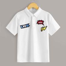 Jungen Polo Shirt mit Flicken Detail