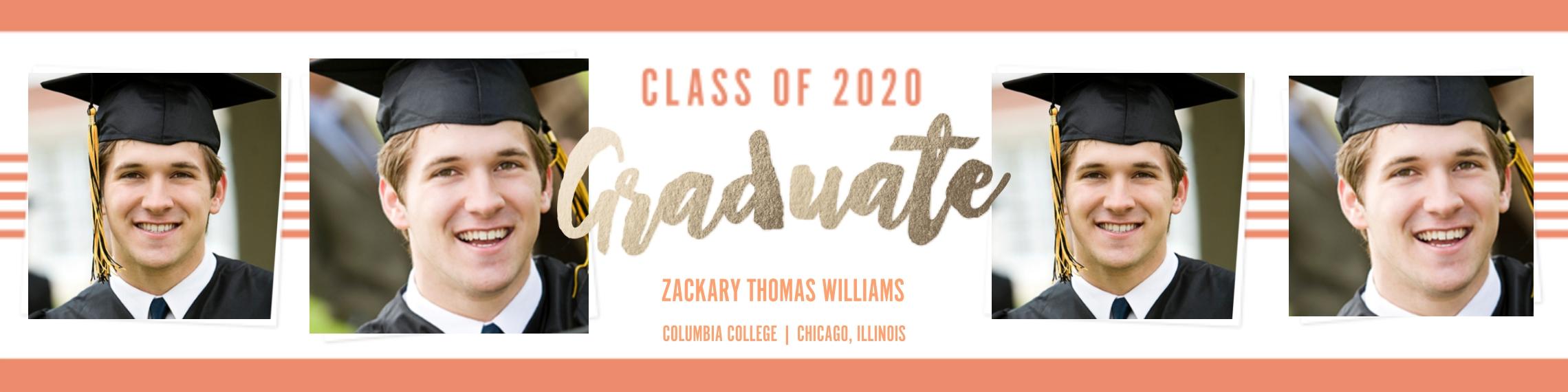 Graduation Photo Banner 2x8, Home Décor -Collegiate Stripes Graduate
