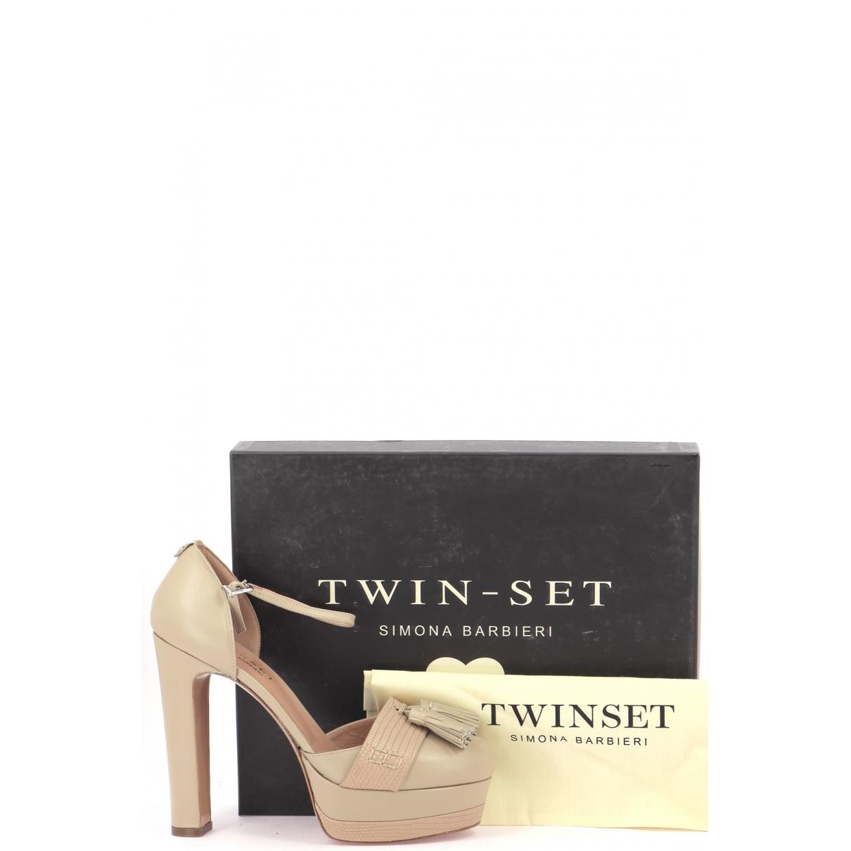 Twin Set \N Sandalen in  Beige Leder