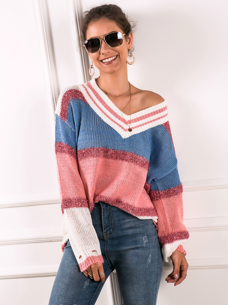 Yoins Color Block Ripped Design One Shoulder Knit Jumper