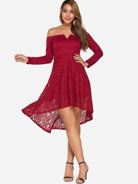 Yoins Red Lace Insert Off Shoulder Long Sleeves Irregular Dress