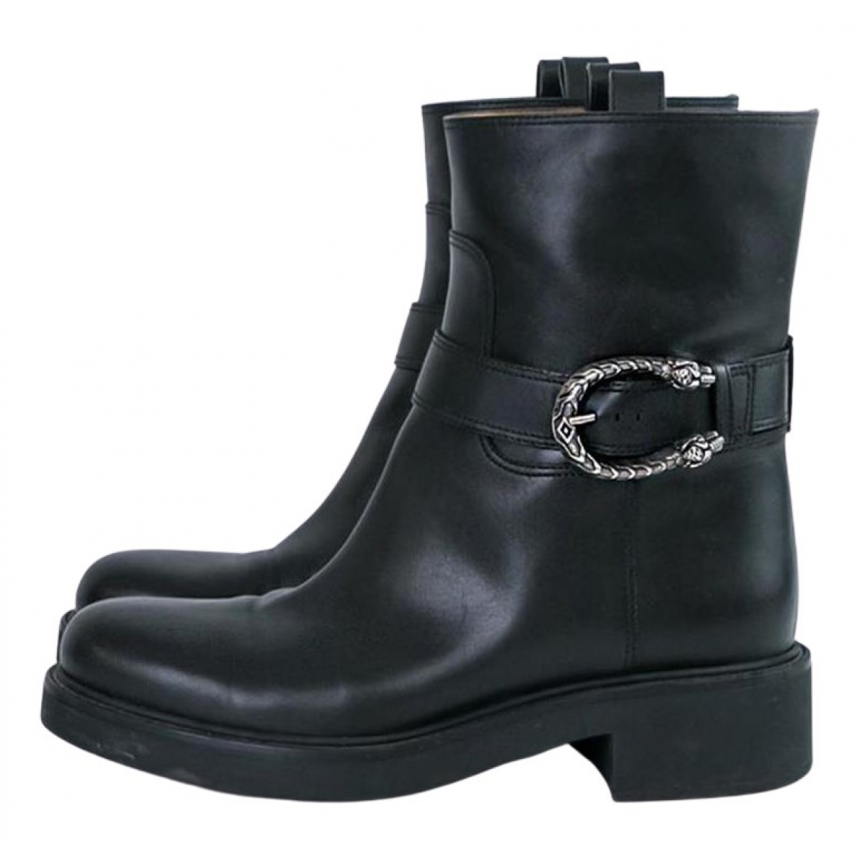 Gucci N Black Leather Ankle boots for Women 38.5 EU