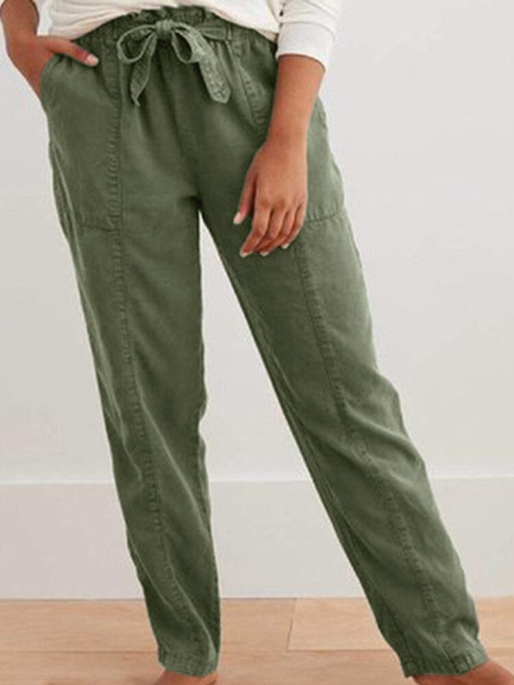 Stitching Solid Color Elastic Waist Plus Size Pants
