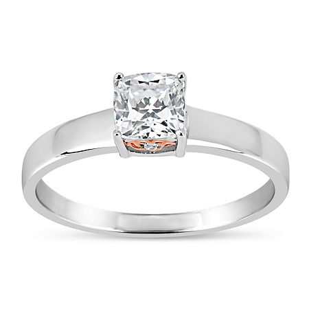 Sterling Silver 18k Rose Gold Over Silver Cushion Cut 1 1/7 Ct. T.W. Solitaire Ring - Featuring Swarovski Zirconia, 7 , No Color Family
