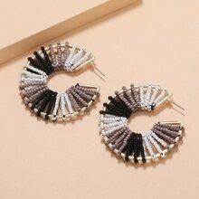 Kreolen mit bunten Perlen Dekor