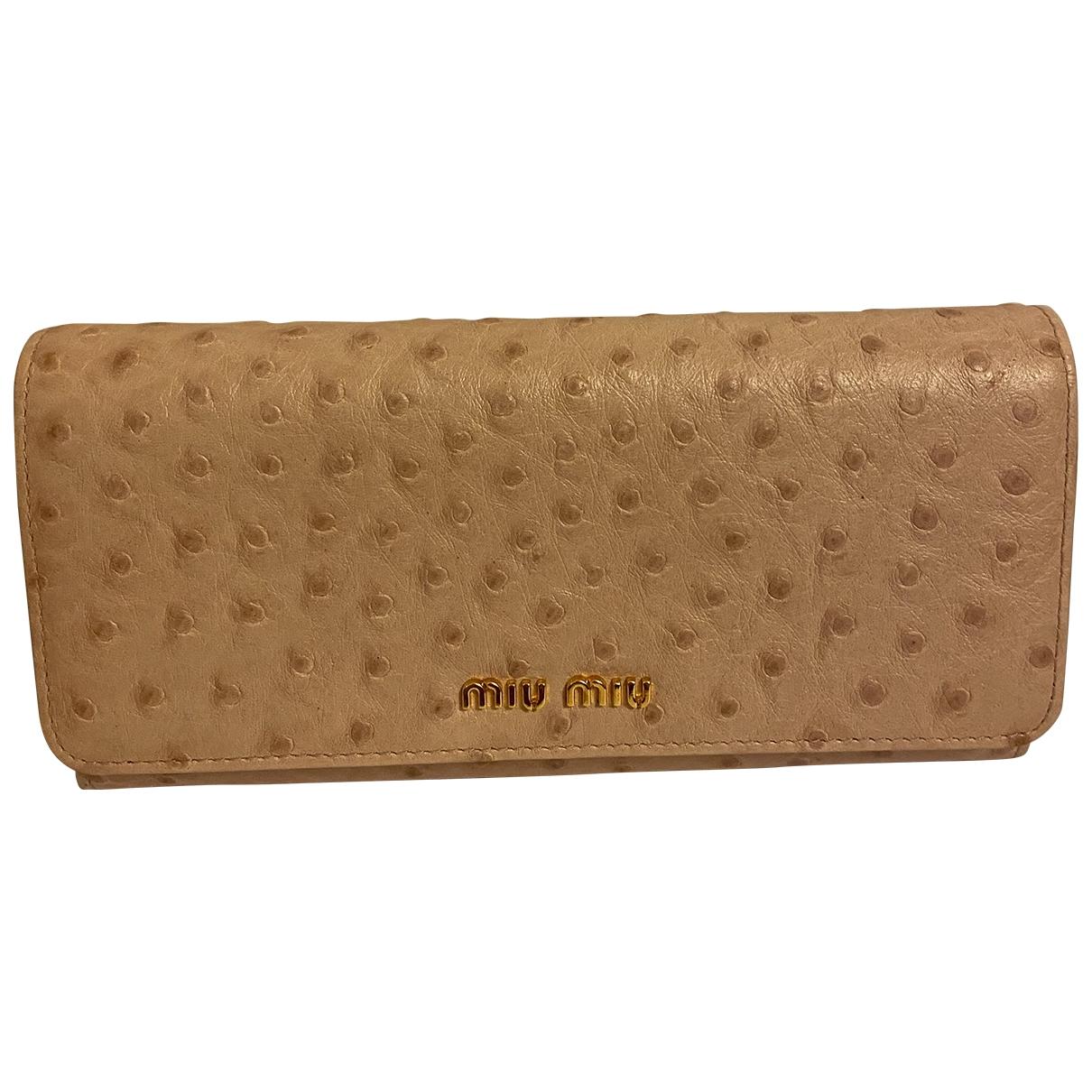 Miu Miu - Portefeuille   pour femme en autruche - rose
