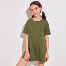 Girls Drop Shoulder Patch Pocket Solid Tee Dress