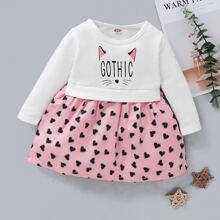 A-Linie Kleid mit Buchstaben & Herzen Muster