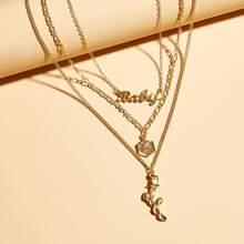 3pcs Letter & Rose Charm Necklace