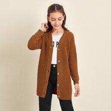 Girls Button Front Rib-knit Cardigan