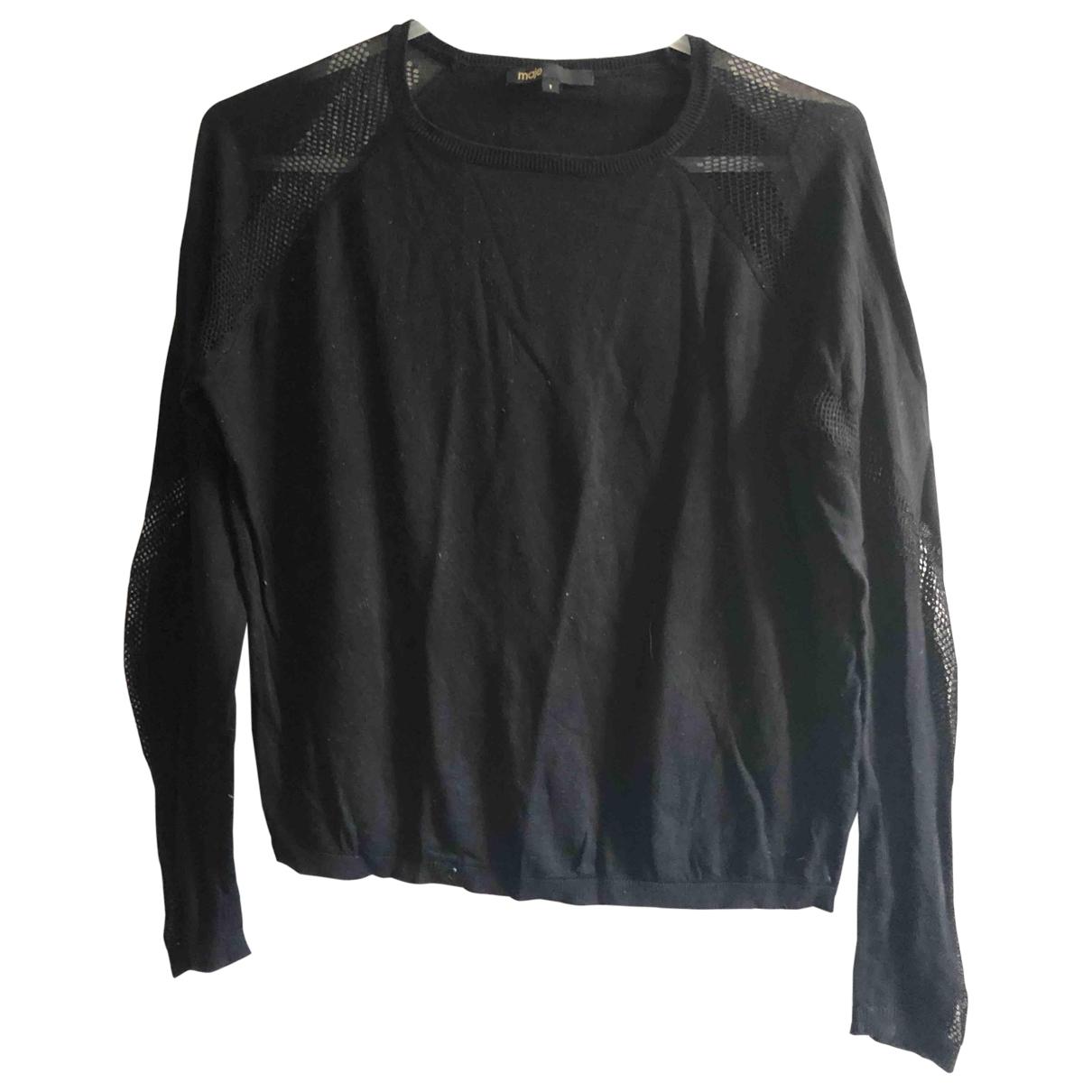 Maje - Pull   pour femme en coton - noir