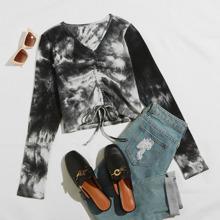 T-Shirt mit Batik, V-Kragen und Kordelzug vorn