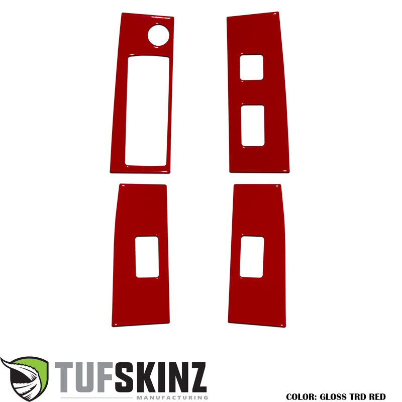 Tufskinz TAC028-RED-G Door Switch Panel Accents Fits 16-up Toyota Tacoma 4 Piece Kit Gloss TRD Red