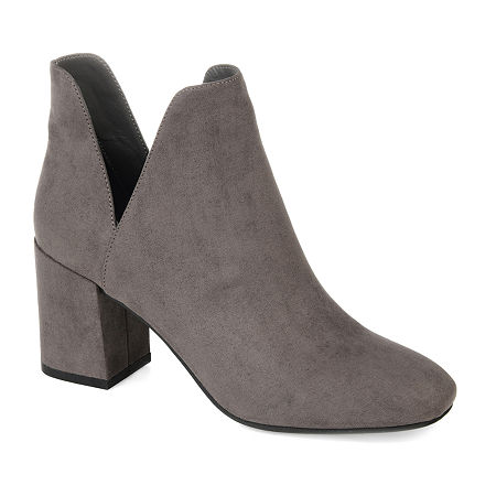 Journee Collection Womens Gwenn Block Heel Booties, 5 1/2 Medium, Gray