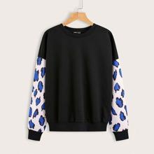 Contrast Sleeve Drop Shoulder Sweatshirt