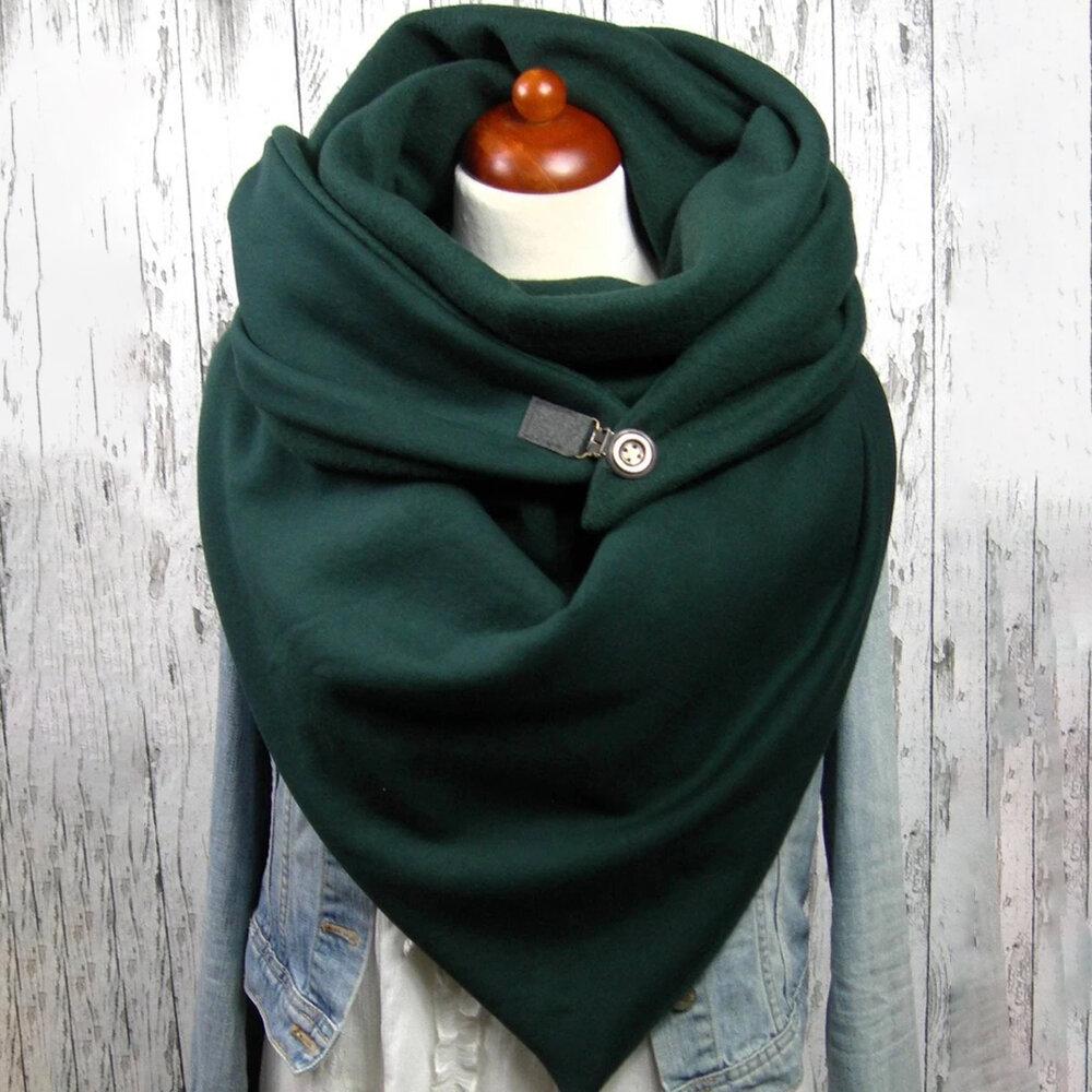 Women Solid Color Scarf Shawl Wrap Versatile Thick Warmth Shawl Scarf
