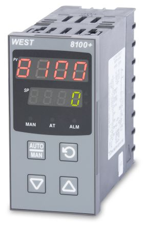 West Instruments P8100 PID Temperature Controller, 96 x 48 (1/8 DIN)mm, 1 Output SSR, 100 V ac, 240 V ac Supply Voltage